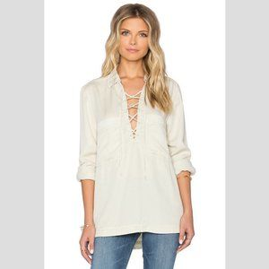 FREE PEOPLE Under Your Spell Lace Up Top Cream - M